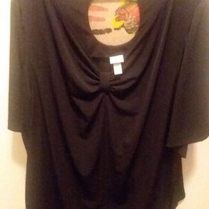 Black short sleeve blouse size 26/28